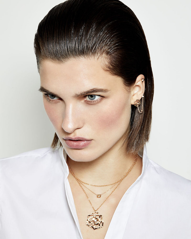 PIAGET 18k Ajouree Diamond Rose Pendant Necklace
