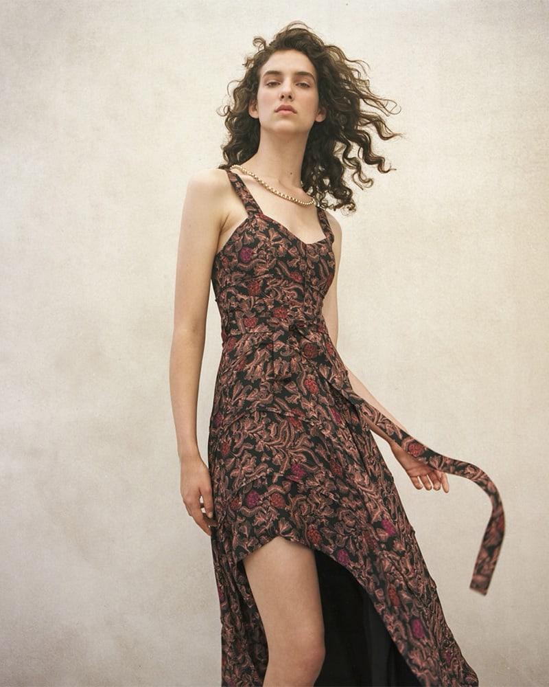Proenza Schouler Paisley Georgette Asymmetric Dress