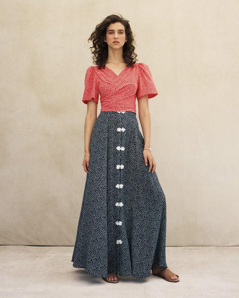 Rebecca de Ravenel Lolita Polka Dot Silk Maxi Skirt