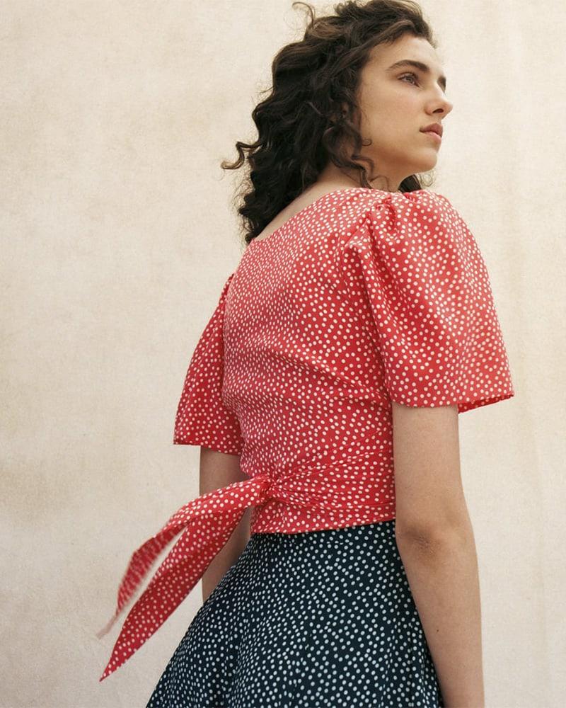 Rebecca de Ravenel Talitha Polka Dot Silk Blouse