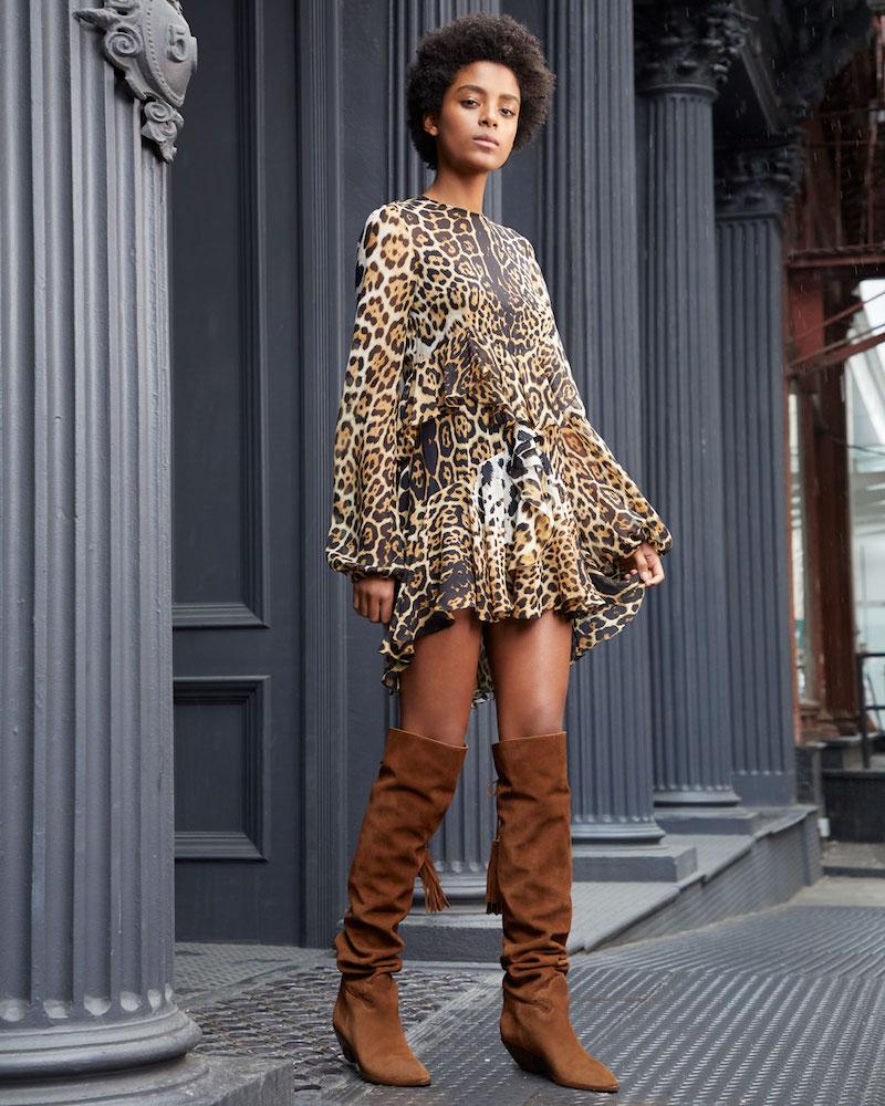 Saint Laurent Tiered Leopard-Print Silk Dress