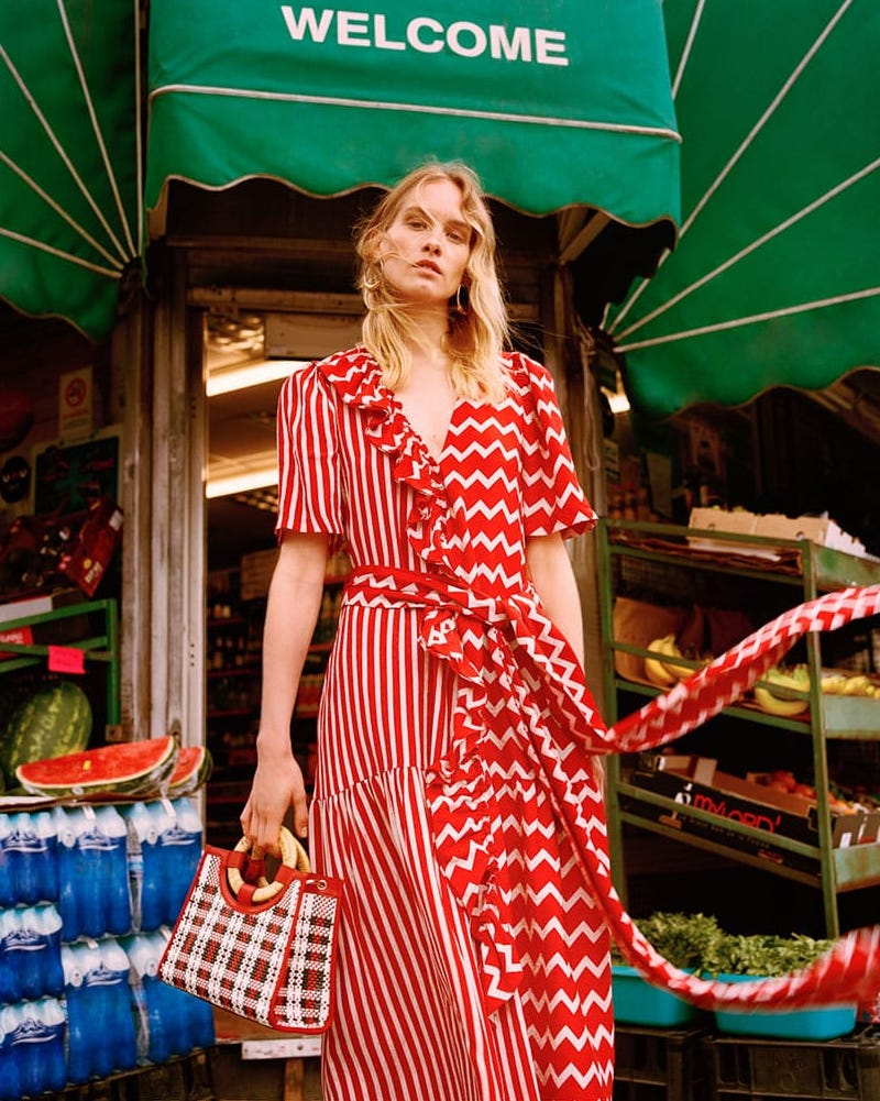 Stella McCartney Gabrielle Zigzag-Print Maxi Dress