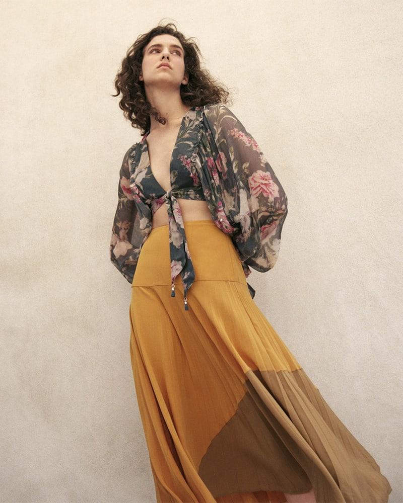 Zimmermann Melody Floral Silk Crop Top