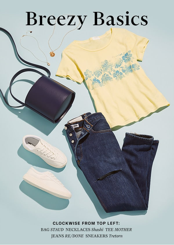 Easygoing denim, cool tees, fresh kicks—summer staples as chilled-out as your weekend plans.
