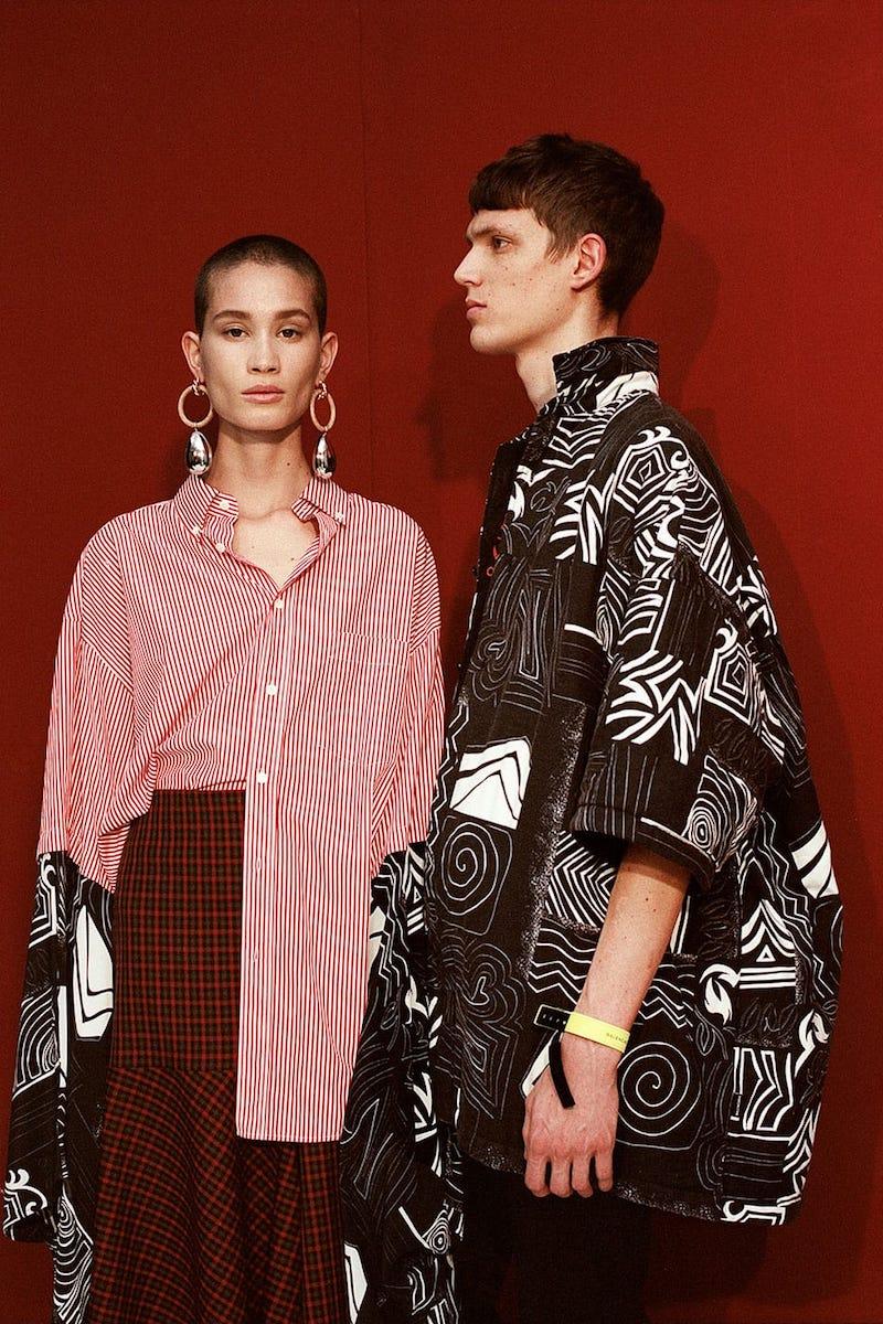 Balenciaga Contrast-Sleeve Striped Cotton Shirt