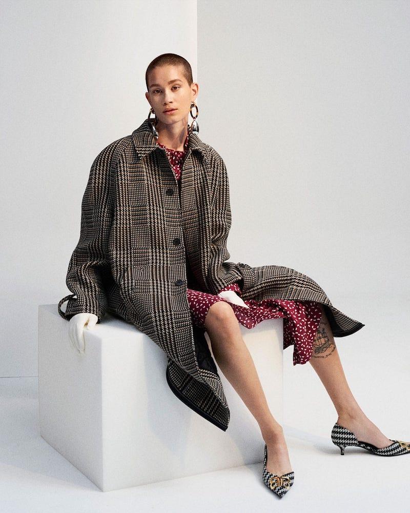 Balenciaga Reflective-Detail Checked Wool Coat