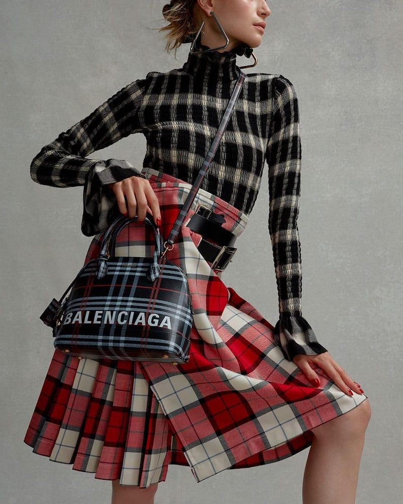 Balenciaga Ville S Check Leather Bag