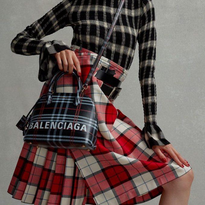 Balenciaga Ville S Check Leather Bag 1