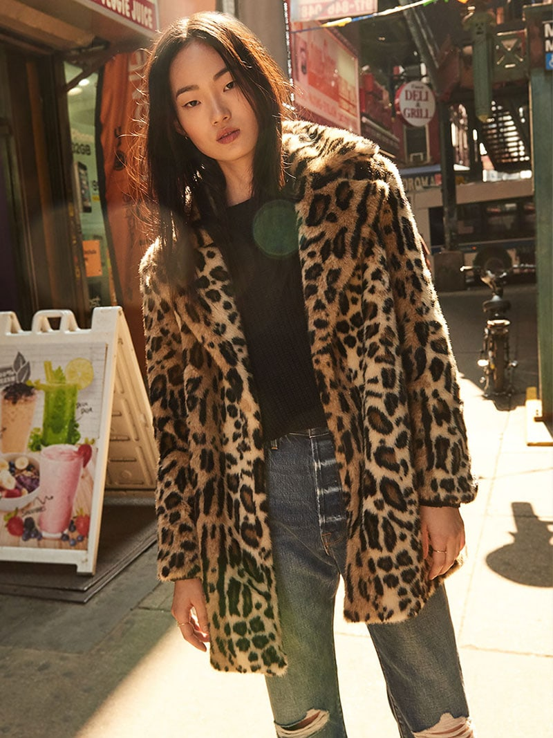 FRAME Notched Collar Fur Coat