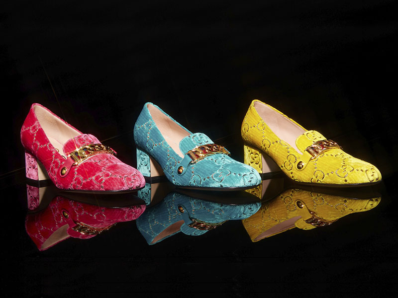 Gucci Sylvie Embossed Velvet Pumps