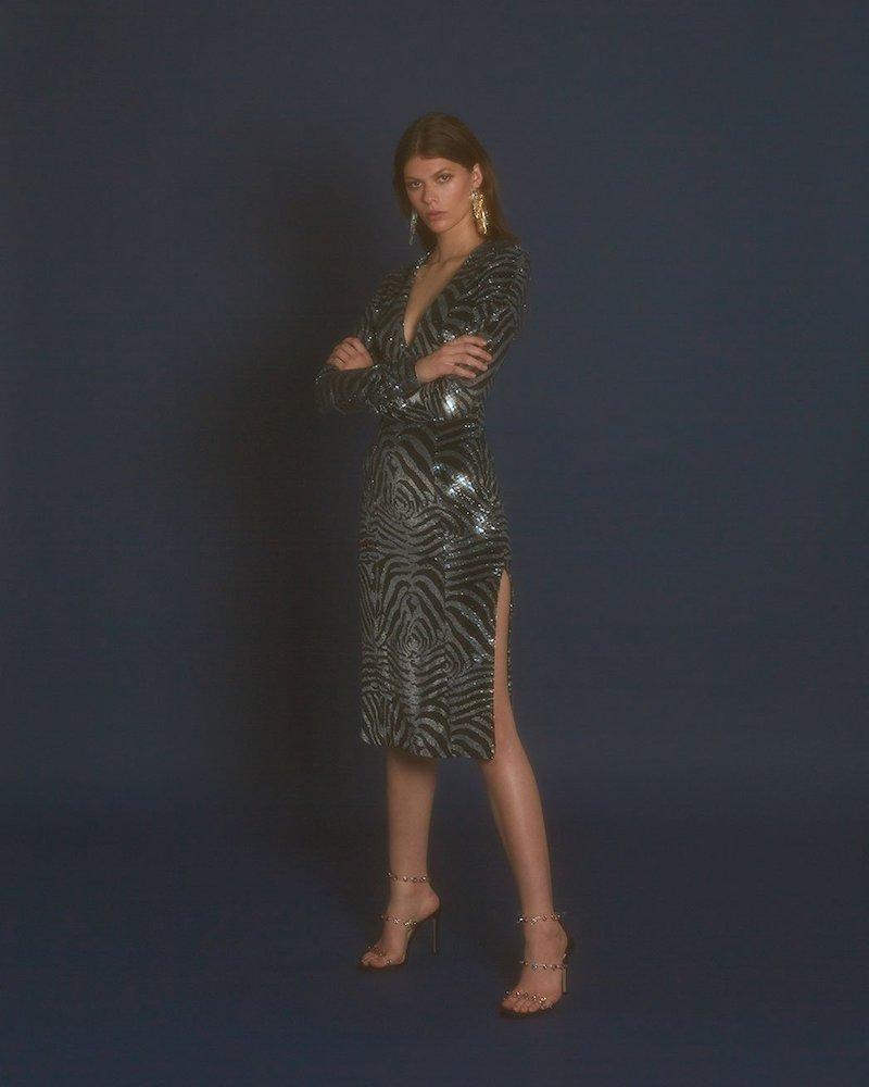 Halpern Zebra-Pattern Sequinned Dress