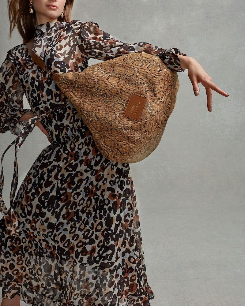 Hillier Bartley Lantern Snakeskin-Effect Faux-Leather Bag