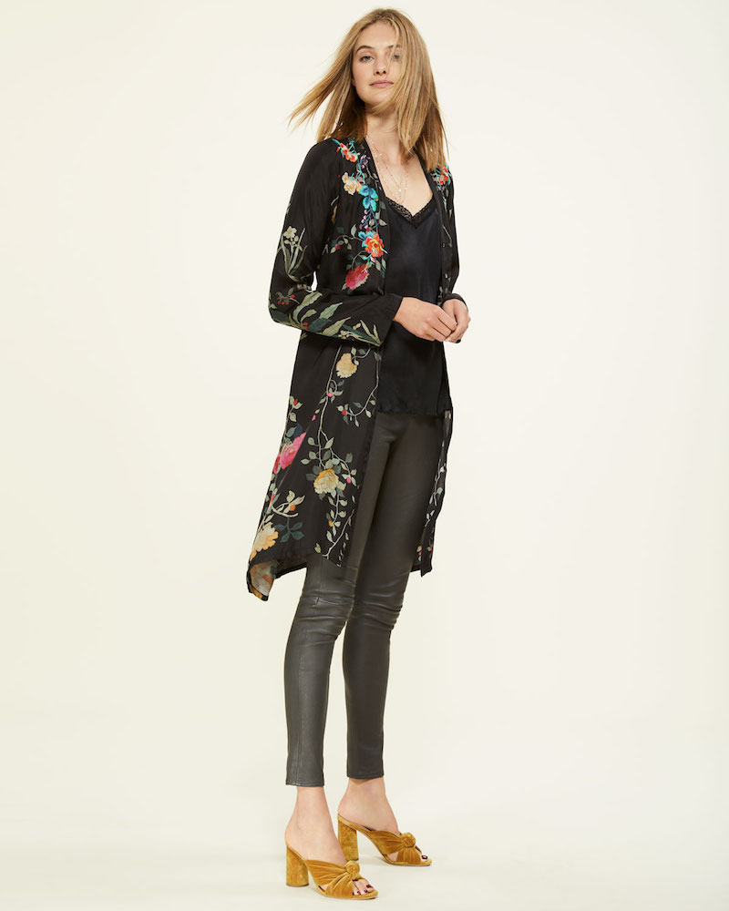 Johnny Was Winter Button-Front Embroidered Shirtdress With Slip