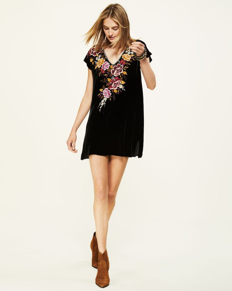Johnny Was Zosia Embroidered Velvet Tunic Dress