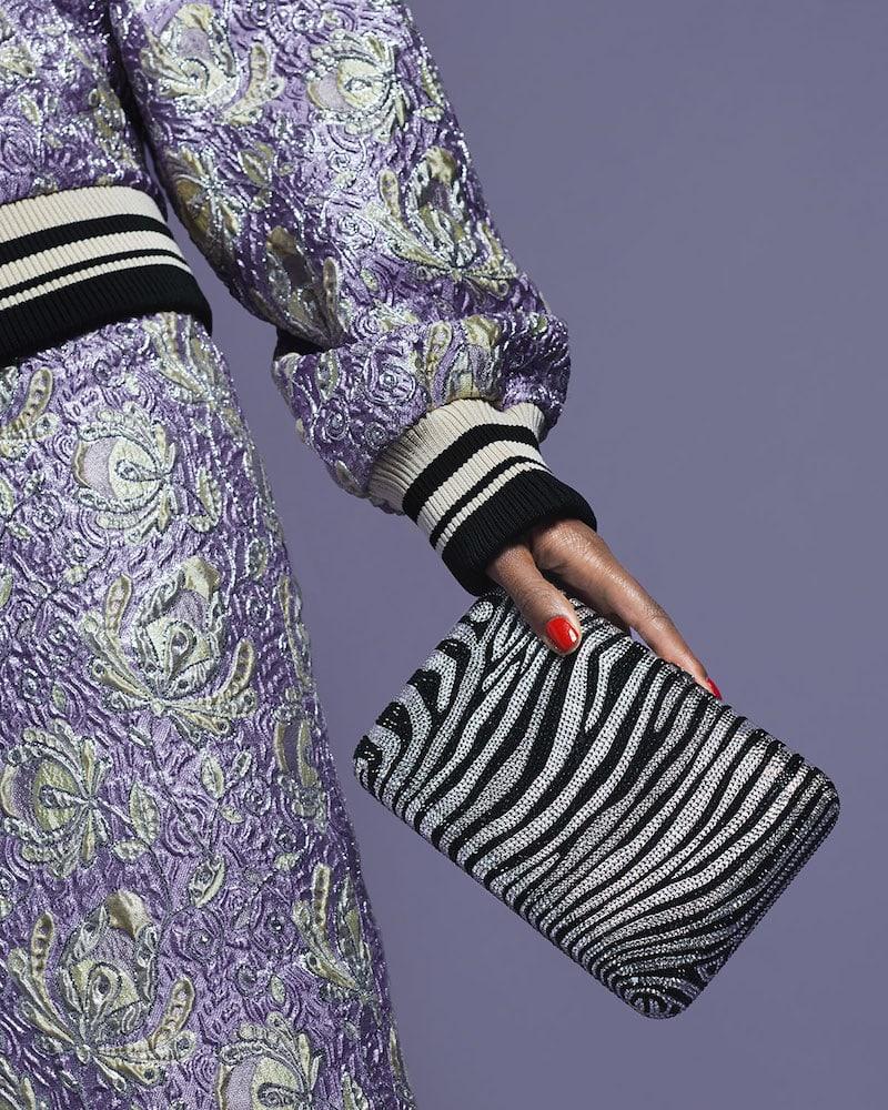 Judith Leiber Couture Seamless Zebra Crystal Clutch Bag