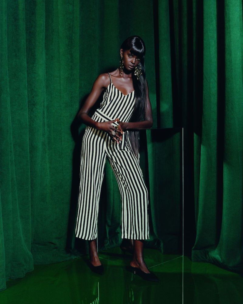 L Agence Jaelyn Striped Silk Jumpsuit