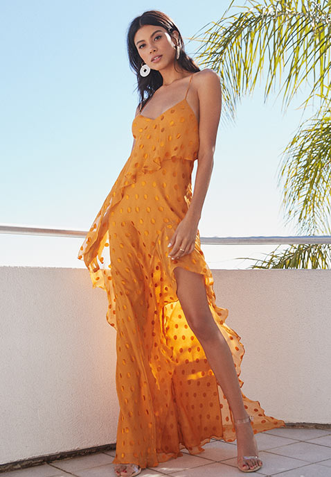 Michelle Mason Strappy Ruffle Gown