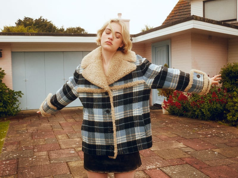 Miu Miu Plaid Wool-Blend and Shearling Coat