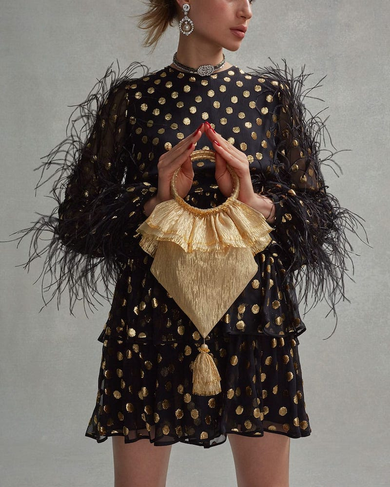 The Vampire's Wife Tassel-Embellished Woven Clutch