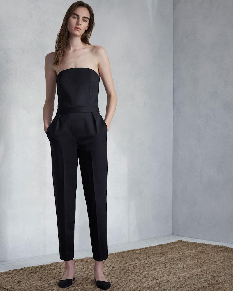Theory City Strapless Tux Wool Skinny-Leg Jumpsuit