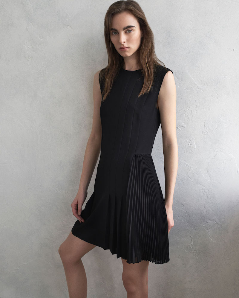 Theory Crewneck A-Line Admiral Crepe Pleated Day Dress