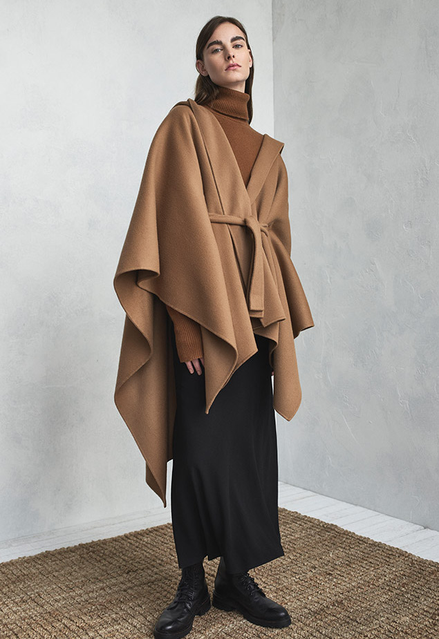 Theory Hooded New Divide Wool-Cashmere Poncho Jacket w: Self-Belt