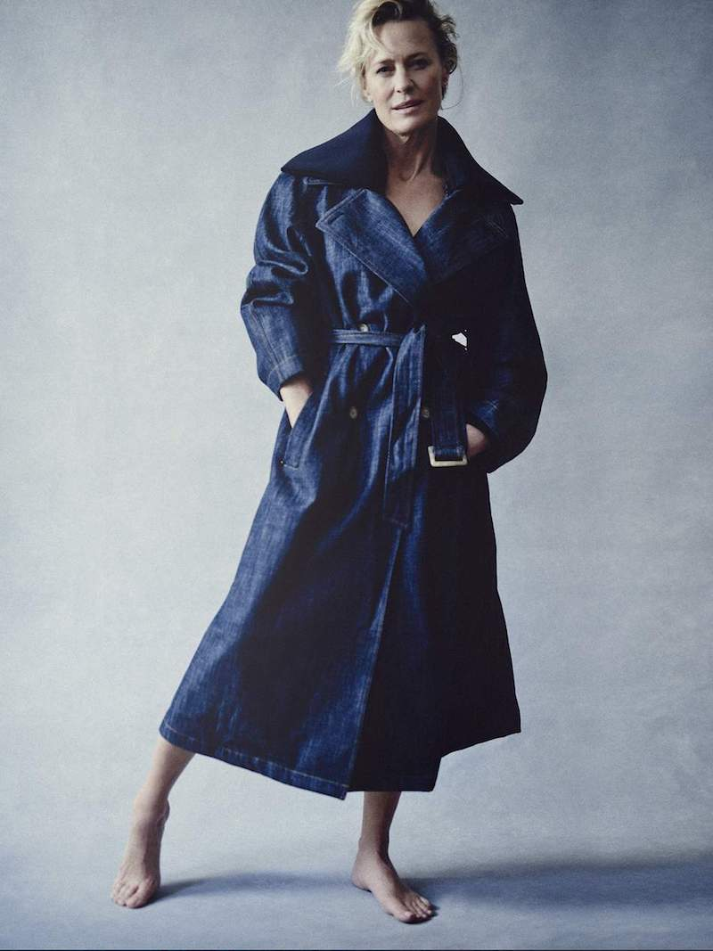 Tibi Stretch Merino Wool-Trimmed Denim Trench Coat