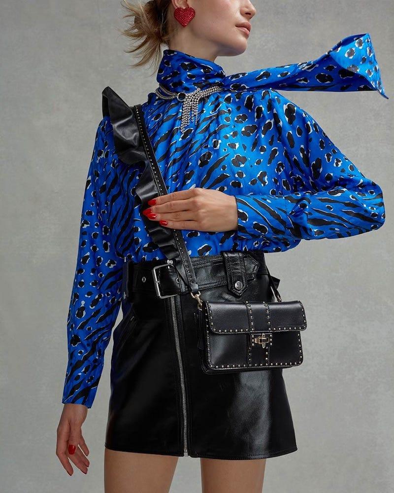 Valentino Rockstud Ruffle-Strap Cross-Body Leather Bag