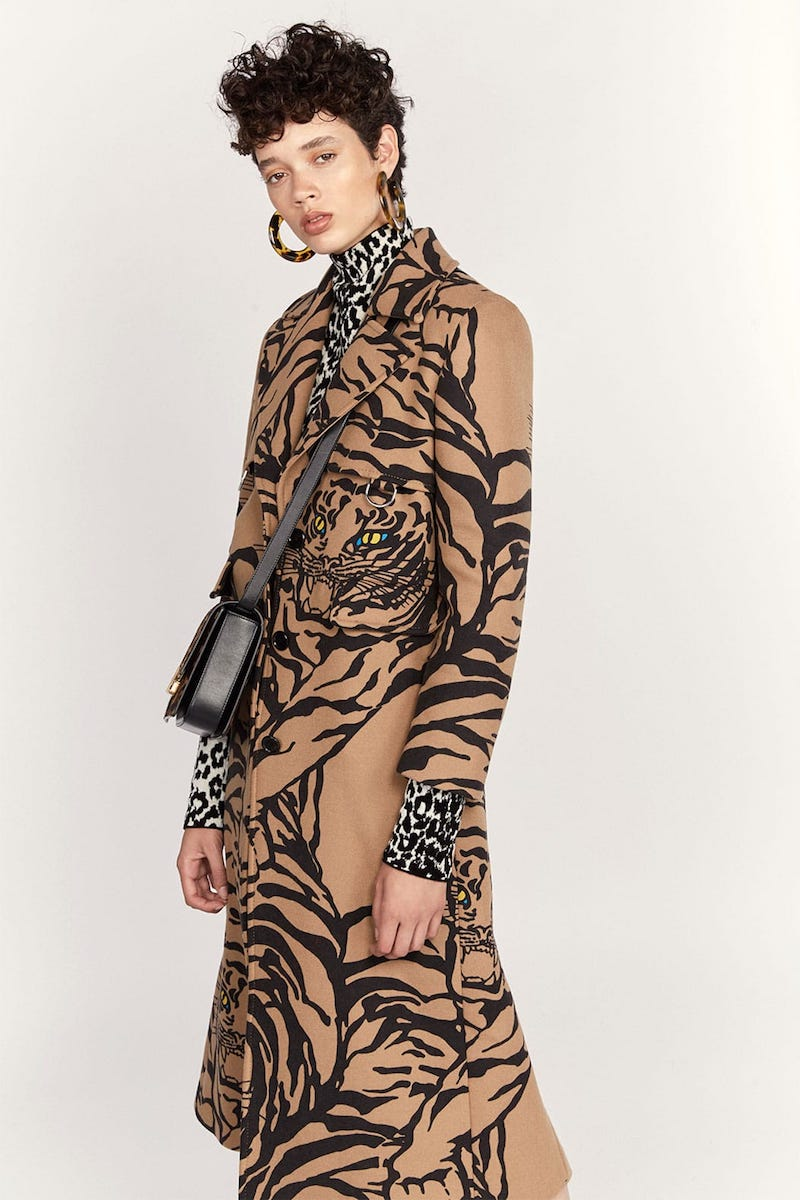 Valentino Tiger-Print Wool-Blend Trench Coat