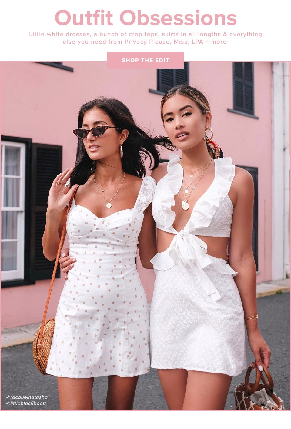 Outfit Obsessions. Little white dresses, a bunch of crop tops, skirts in all lengths & everything else you need from Privacy Please, Misa, LPA + more. Shop the Edit.