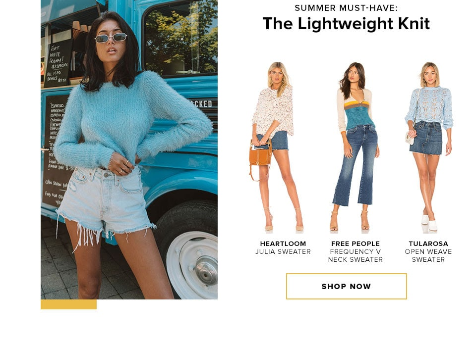 Summer Must-Have: The Lightweight Knit. Shop Now.