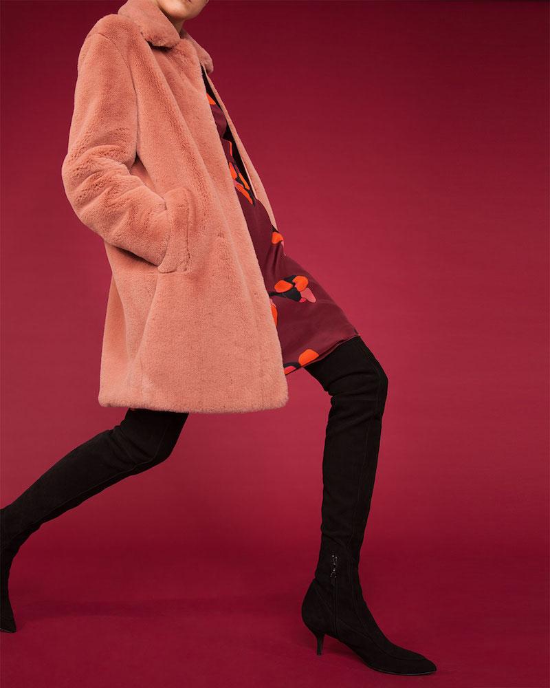 Akris punto Spread-Collar Zip-Front Faux-Fur Coat