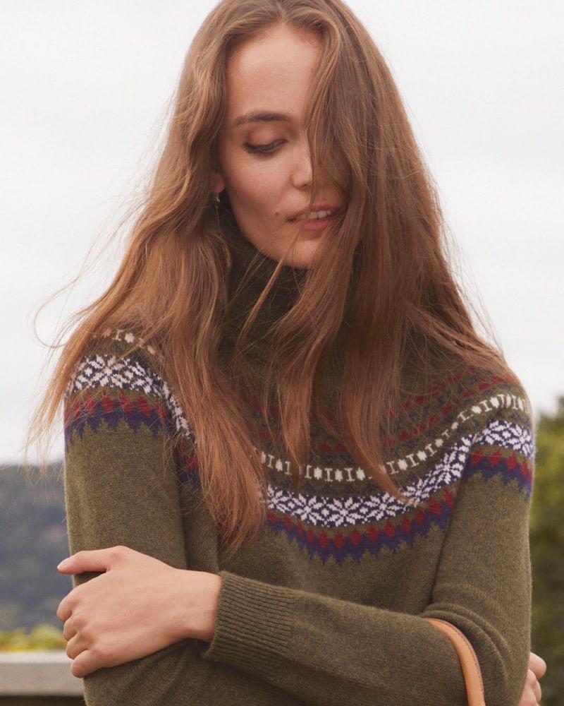 Barneys New York Fair Isle Cashmere Sweater