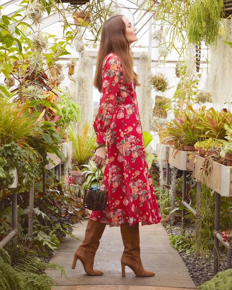 Barneys New York Floral Silk Chiffon Tieneck Maxi Dress
