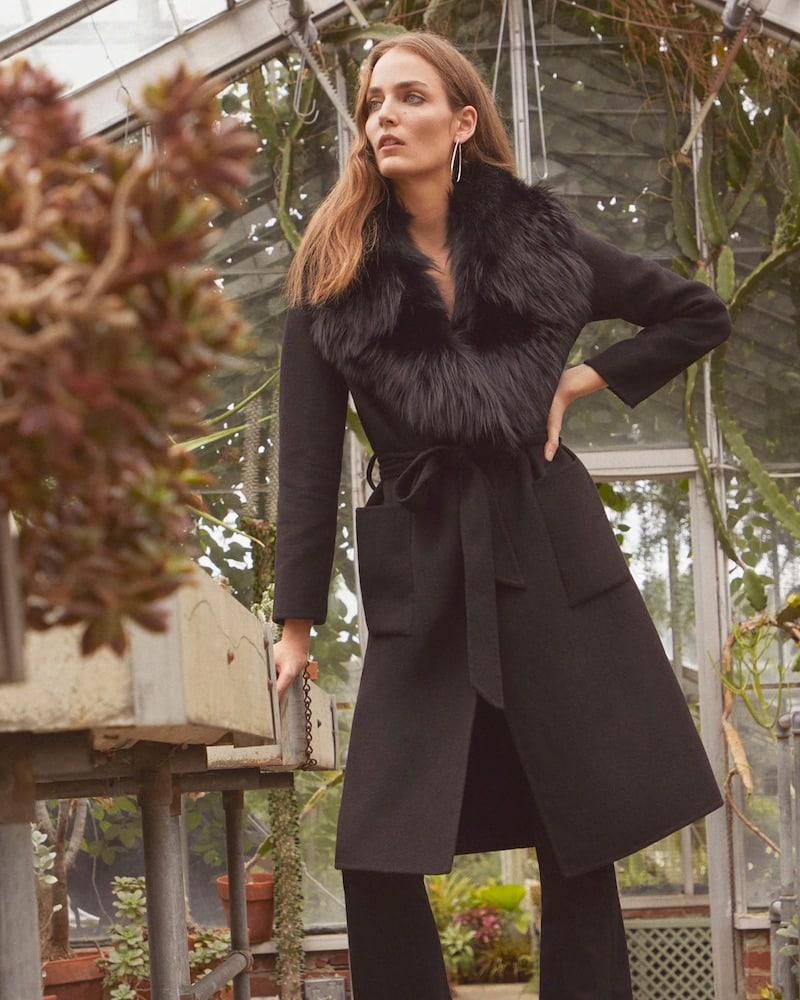 Barneys New York Fur-Trimmed Wool Belted Coat