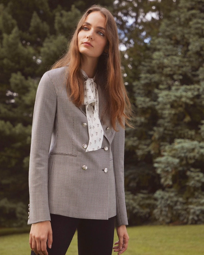 Barneys New York Houndstooth Wool-Mohair Double-Breasted Blazer