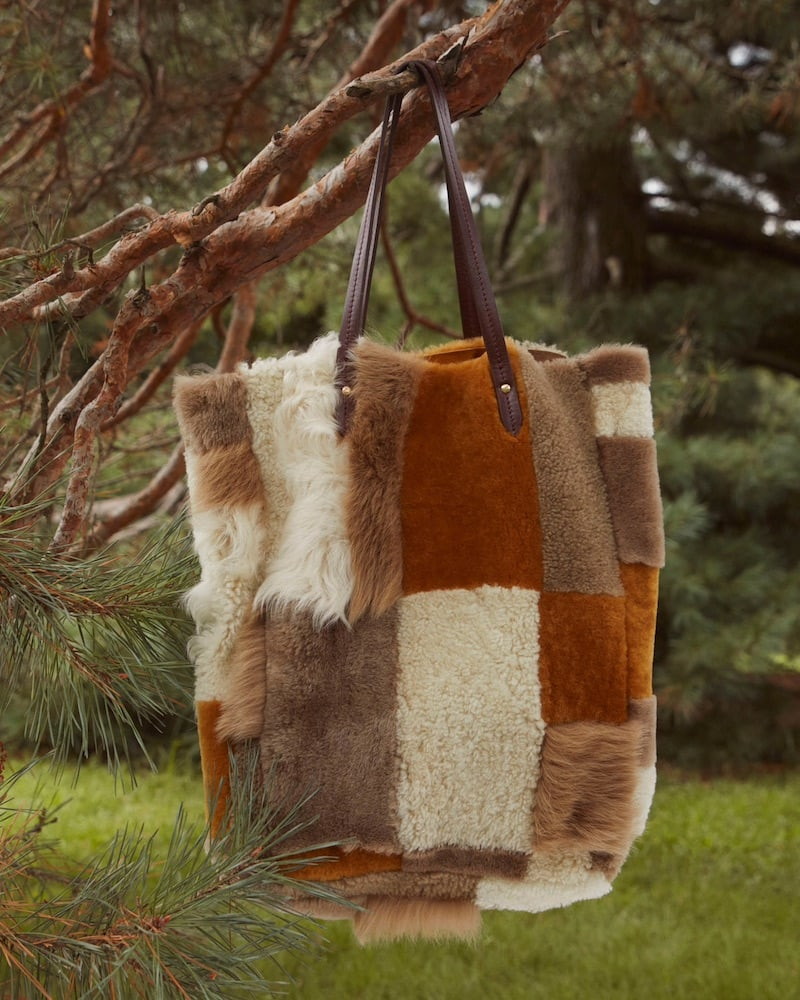 Barneys New York Shearling Patchwork Tote Bag