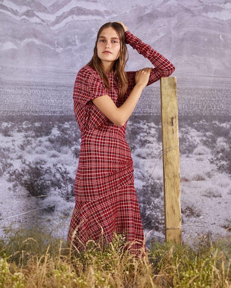 CALVIN KLEIN 205W39NYC Asymmetric Checked Dress