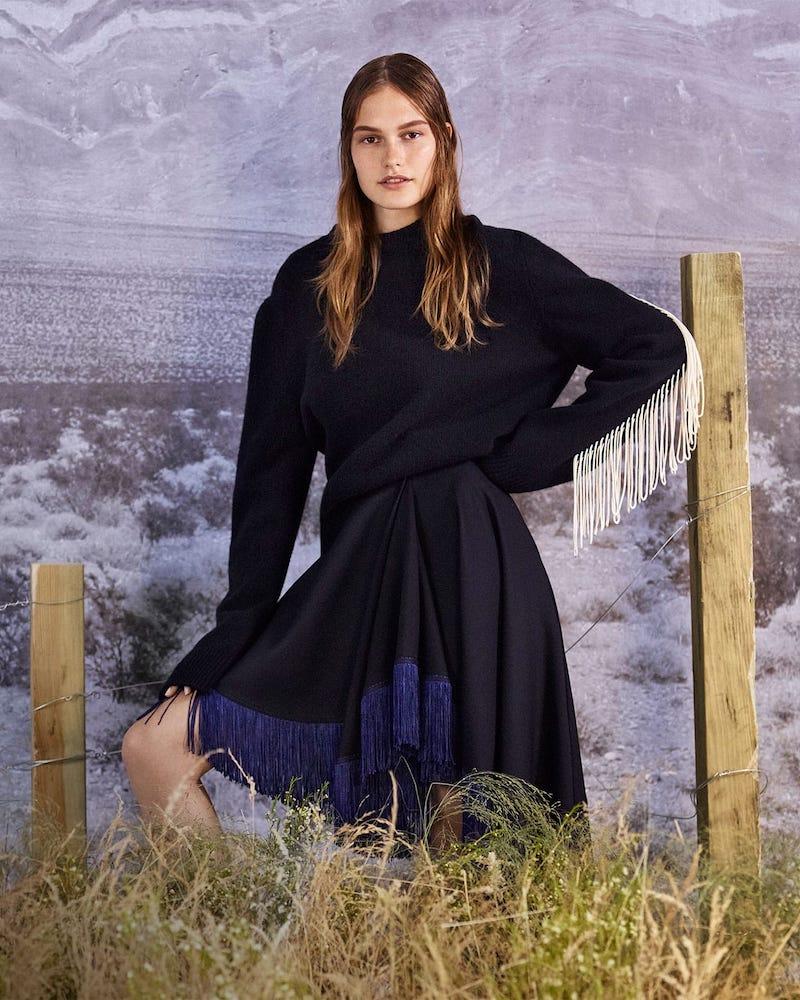 CALVIN KLEIN 205W39NYC Fringe-Trim Wool Sweater