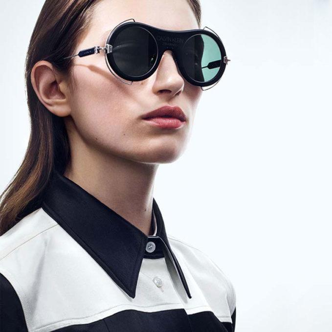 CALVIN KLEIN 205W39NYC Round Metal Trim Sunglasses With 205W39NYC Logo