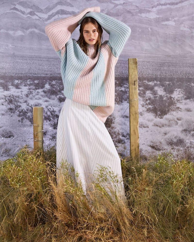 CALVIN KLEIN 205W39NYC Striped Mohair Sweater