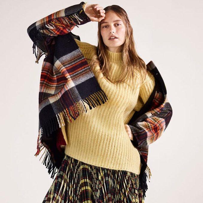 CALVIN KLEIN 205W39NYC x Pendleton Fringed Plaid Wool Coat