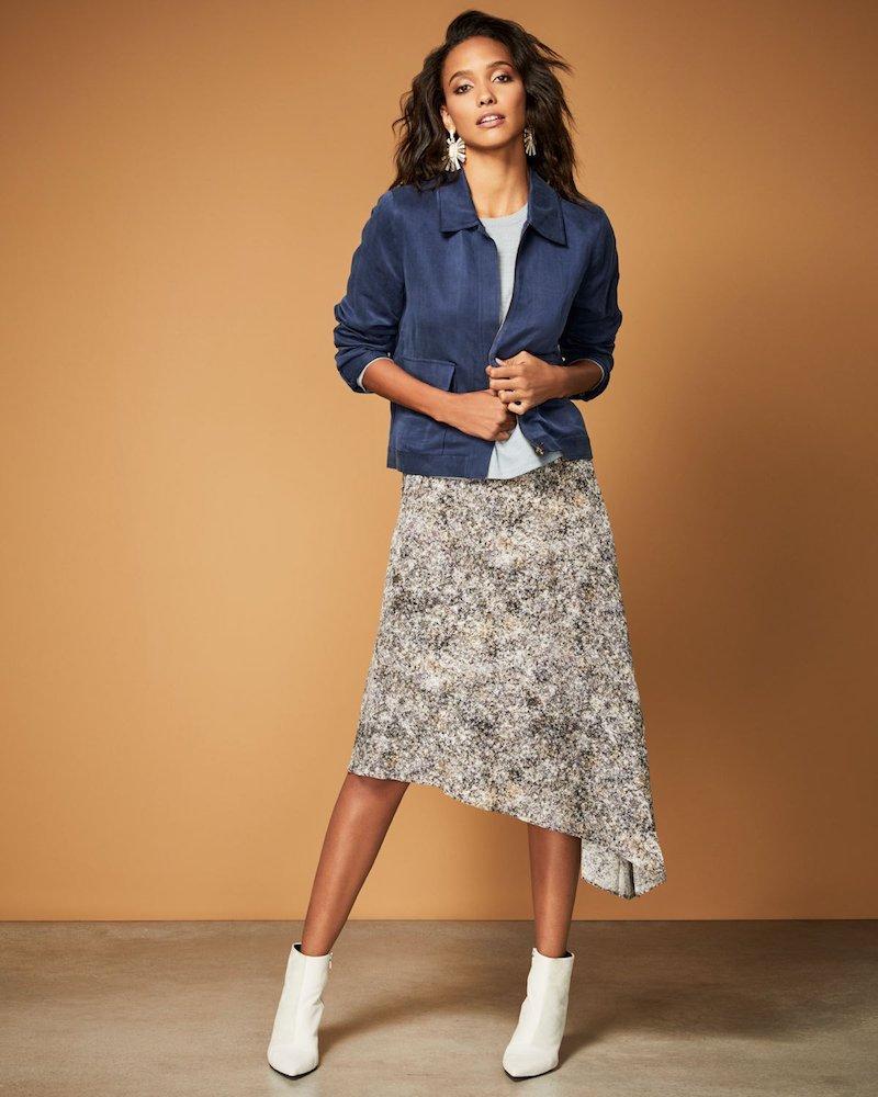 Eileen Fisher Asymmetric Willow-Print Silk Skirt