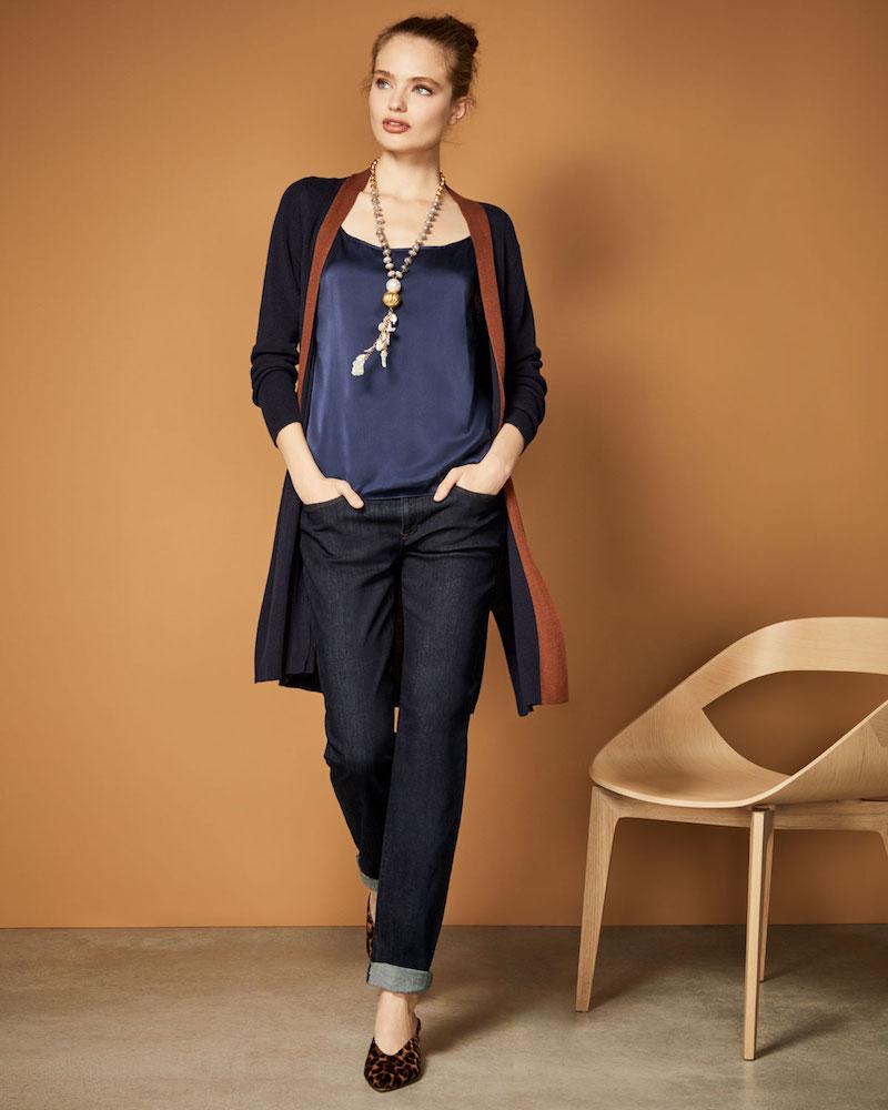 Eileen Fisher Contrast-Trim Side-Slit Cardigan