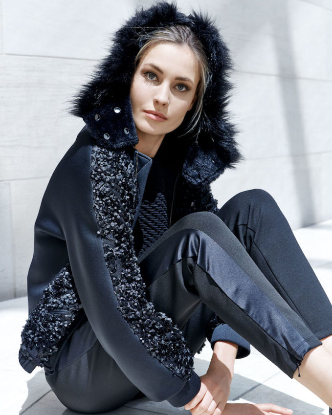 Emporio Armani Embellished Zip-Front Jacket with Detachable Faux-Fur Trimmed Hood