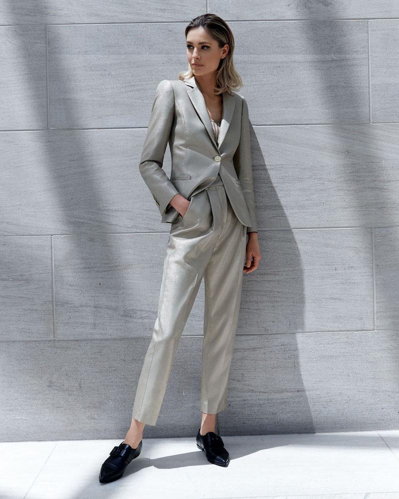 Emporio Armani One-Button Metallic Wool Classic Jacket