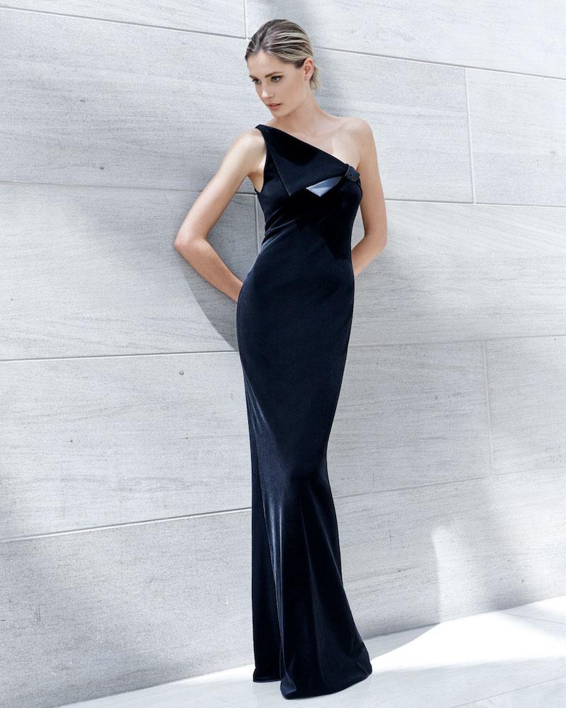 Emporio Armani One-Shoulder Velvet Jersey Column Evening Gown with Satin Trim