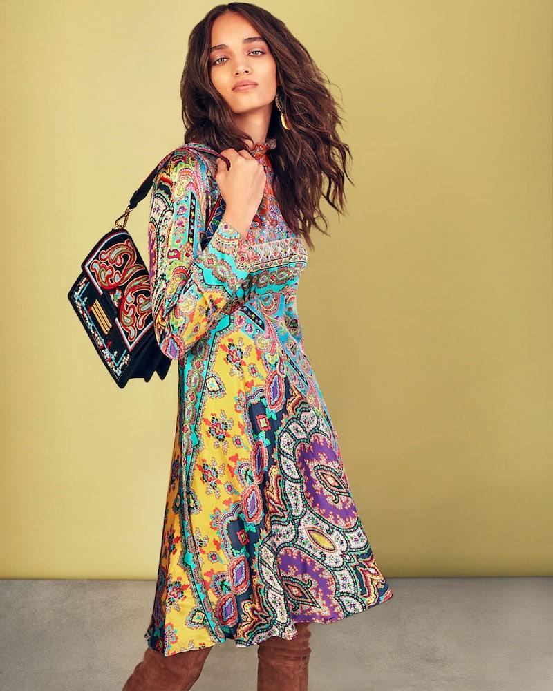 Etro Crewneck Long-Sleeve Paisley-Print Silk Dress