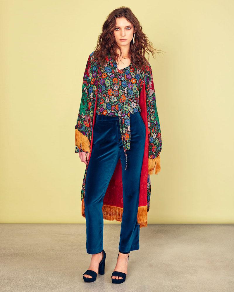 Etro Multicolor Floral-Print Fringe Robe