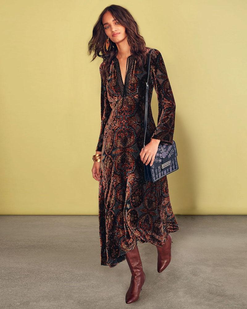 Etro Paisley-Print Velvet A-Line Granny Dress with Cravat Trim